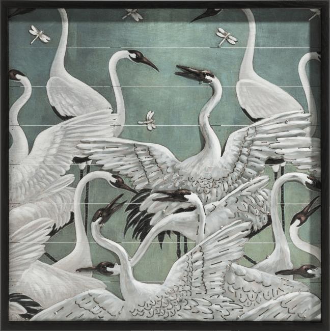 Coco Maison - schilderij storks 73 x 73 cm