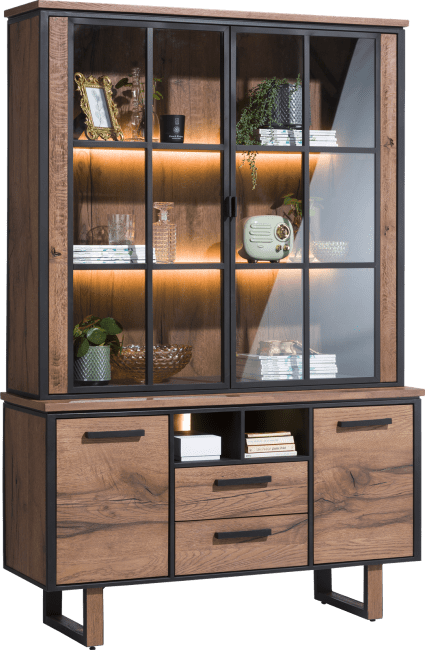 Oxford - vaisselier 2-portes en verres + 2-portes + 2-tiroirs + 2-niches