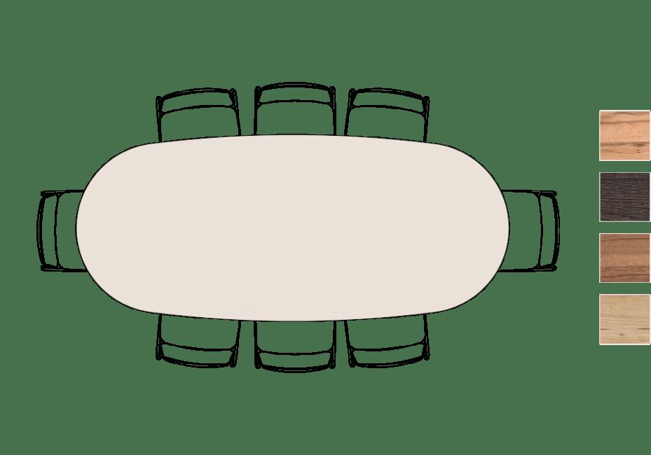 Moreni - eetkamertafel ovaal 250 x 108 cm