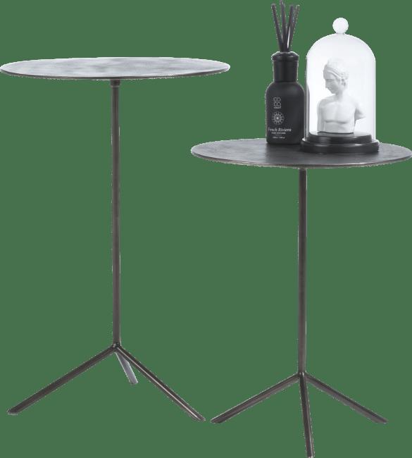 Coco Maison - set van 2 bijzettafels mealynn - diameter 39 cm / 36 cm - zwart