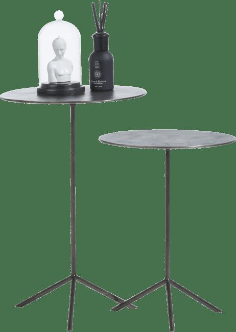 Coco Maison - set von 2 beistelltische mealynn - durchmesser 39 cm / 36 cm - schwarz