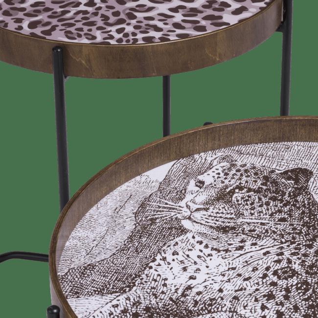 Coco Maison - set van 2 bijzettafels leopard - bruin