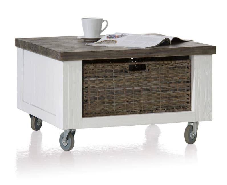 Deaumain - hoektafel 70 x 70 cm + 1-mand t&t met wielen + houten pootjes