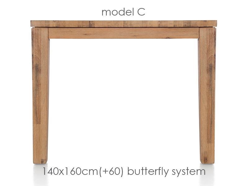 A La Carte - uitschuiftafel 160 (+ 60) x 140 cm - cor
