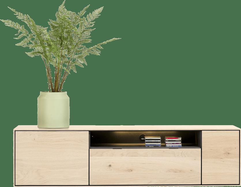 XOOON - Elements - Minimalistisch design - lowboard 180 cm. - hang + 1-deur + 1-lade + klep + 1-niche + led