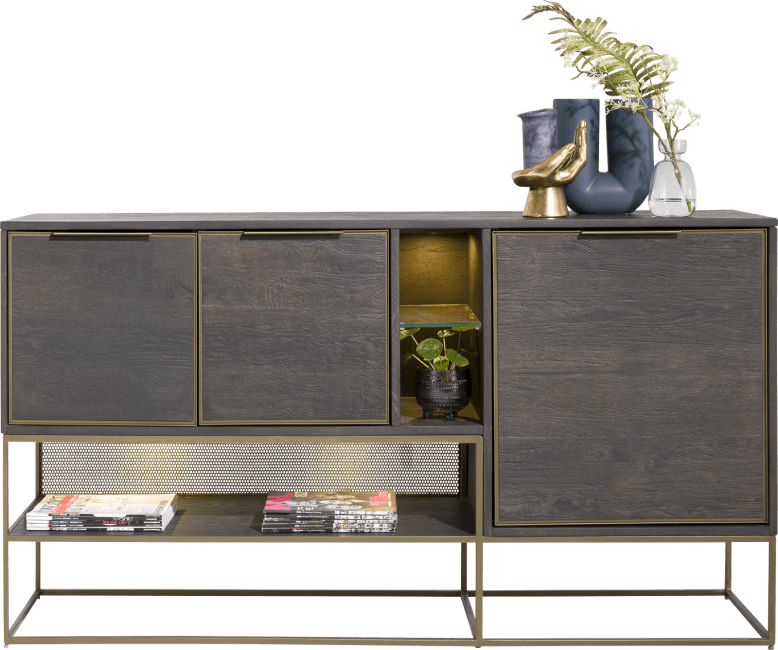 Henders and Hazel - City - Industrieel - dressoir 160 cm. - 3-deuren + 3-niches (+ led)