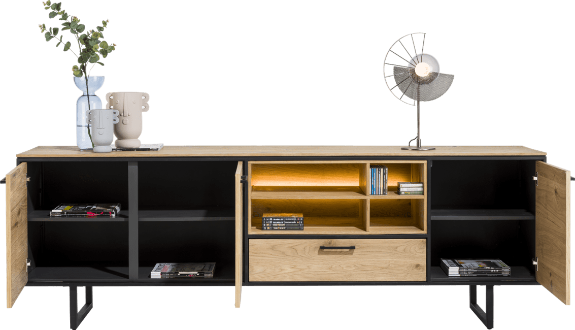 XOOON - Belo - sideboard 240 cm - 3-doors + 1-drawer + 4-niches (+ led)
