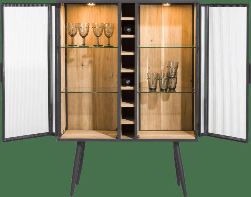 XOOON - Kinna - Scandinavisch design - wijnkast 100 cm - 2-glasdeuren + 8-wijnvakken (+ led)