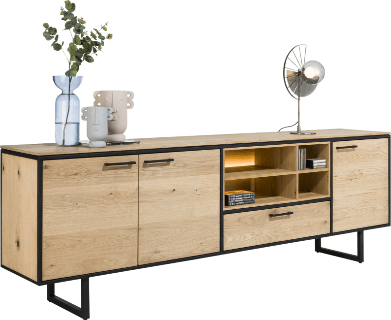 XOOON - Belo - dressoir 240 cm - 3-deuren + 1-lade + 4-niches (+ led)