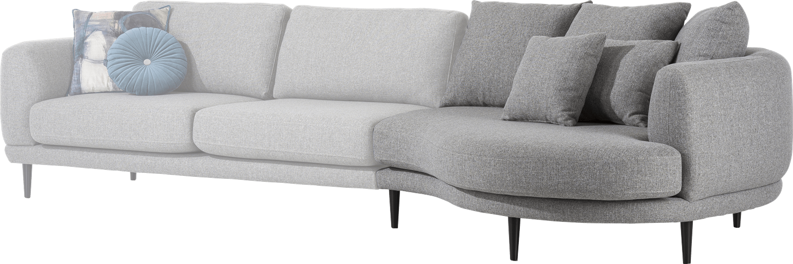 Henders and Hazel - Portland - Modern - Banken - lounge end inclusief 3 rugkussens big - rond - rechts