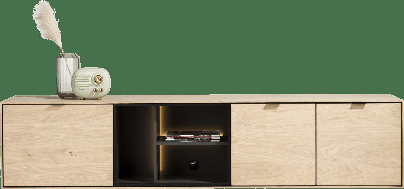 XOOON - Elements - Minimalistisches Design - lowboard 210 cm. - zum aufhaengen + 2-tueren + klappe + 3-nischen + led