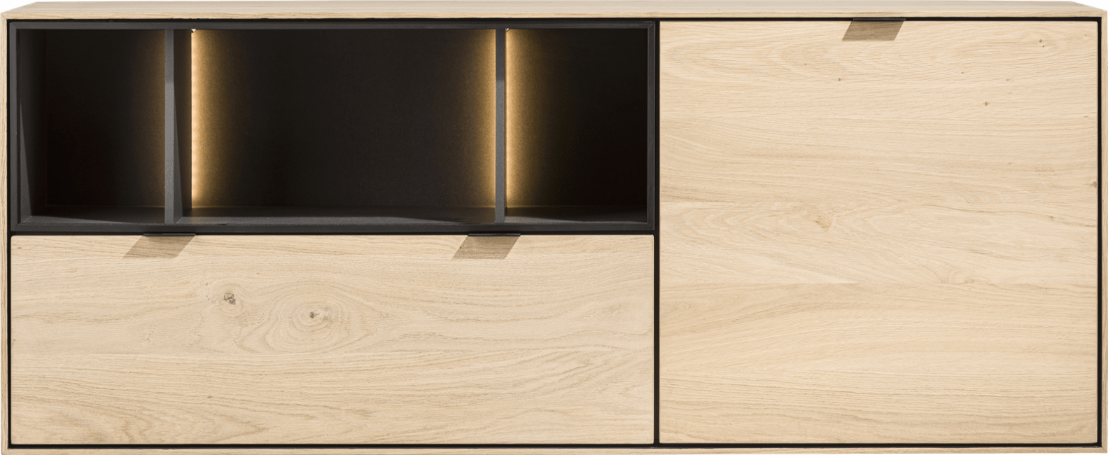 XOOON - Elements - Minimalistisches Design - sideboard 150 cm. - 1-tuer + 1-lade + 3-nischen + led