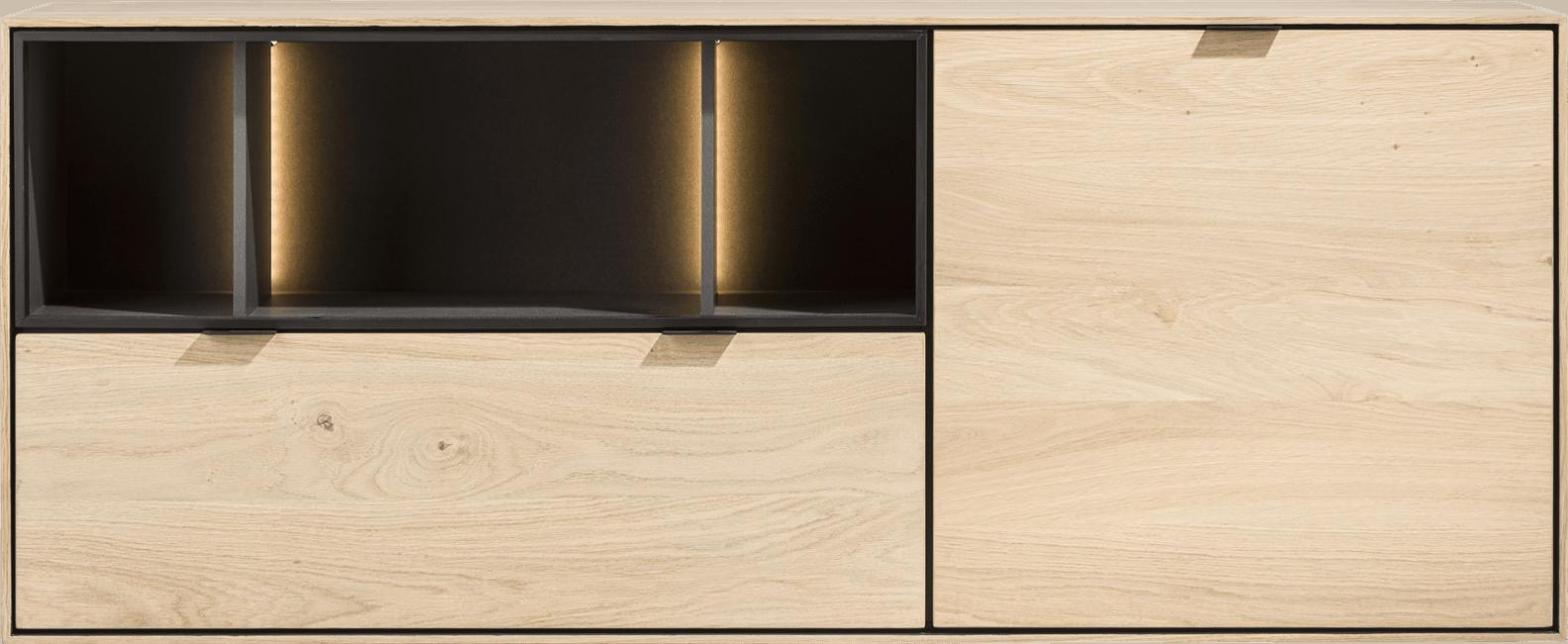 XOOON - Elements - Minimalistisch design - dressoir 150 cm. - 1-deur + 1-lade + 3-niches + led