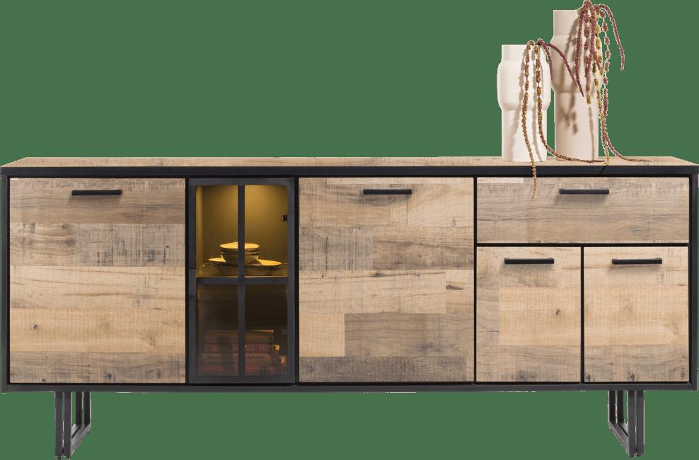 Henders and Hazel - Avalon - Industrie - sideboard 200 cm. - 4-tueren + 1-lade + 1-glastuer (+ led)