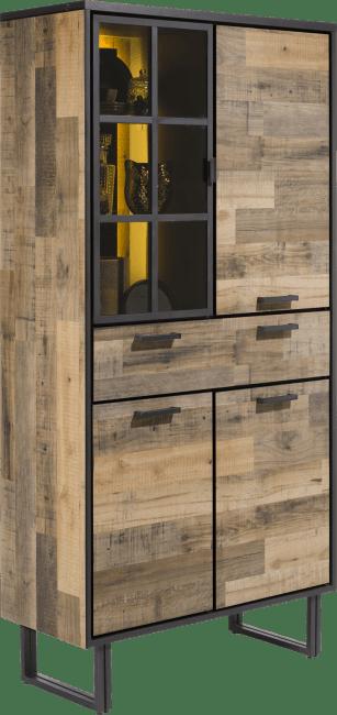 Henders and Hazel - Avalon - Industrieel - bergkast 96 cm. - 3-deuren + 1-lade + 1-glasdeur (+ led)