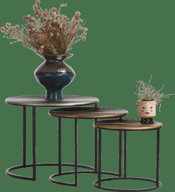 Happy@Home - Coco Maison - nora set van 3 bijzettafels h47-42-37cm