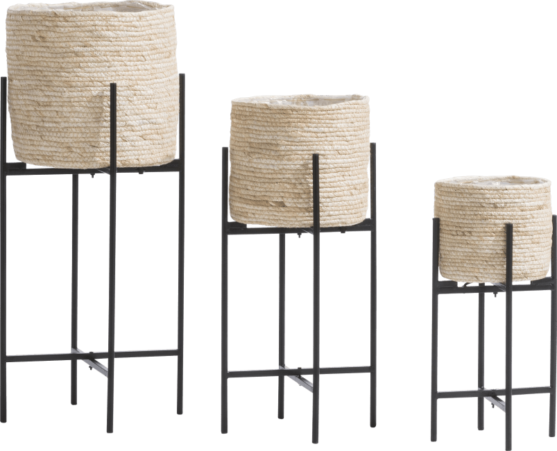 Happy@Home - Coco Maison - tulum set van 3 bloempotten h67-53-41cm