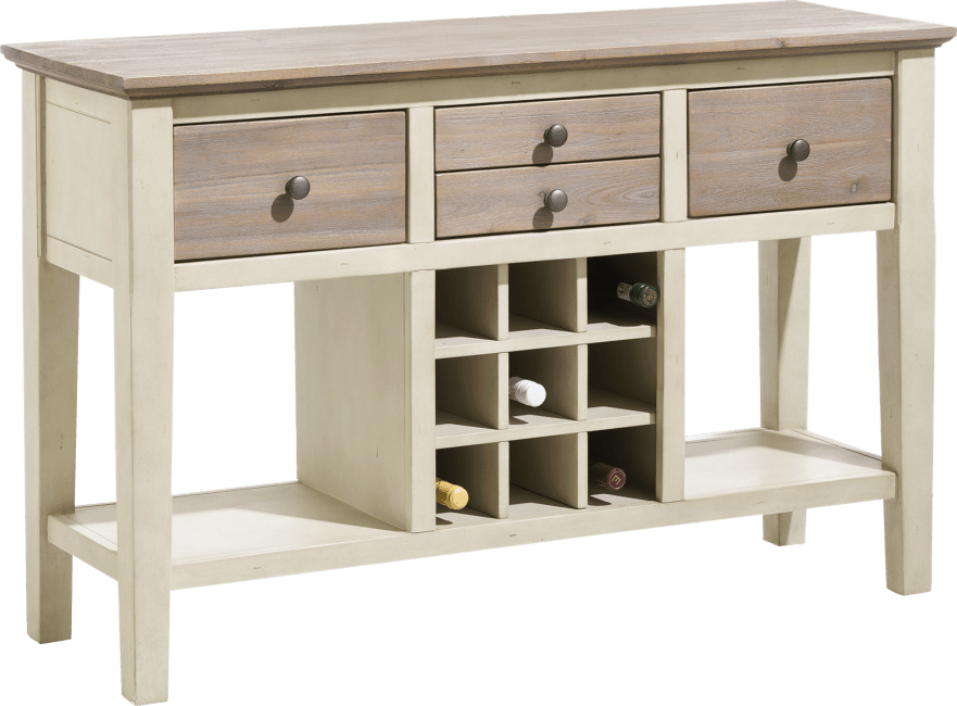 H&H - Le Port - Rural - console 120 x 40 cm + 4-tiroirs + 9-niches a bouteilles + 2-niches