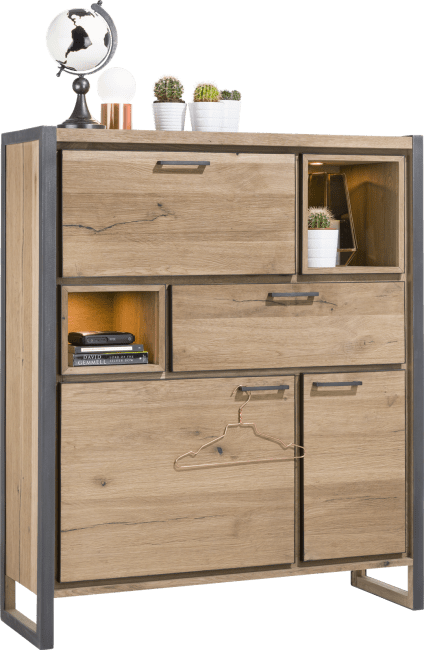 Henders and Hazel - Metalo - Industrieel - highboard 2-deuren + 1-lade + 1-klep + 2-niches (+ led)
