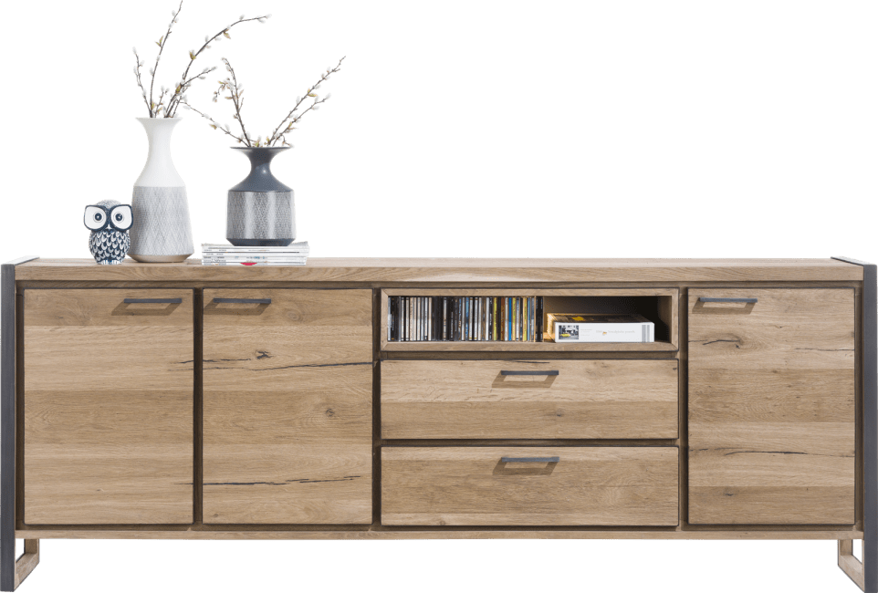 Henders and Hazel - Metalo - Industrie - sideboard 240 cm - 3-tueren + 2-laden + 1-nische (+ led)