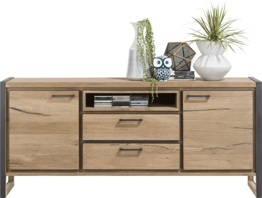 Henders and Hazel - Metalo - Industrieel - dressoir 180 cm - 2-deuren + 2-laden + 1-niche (+ led)