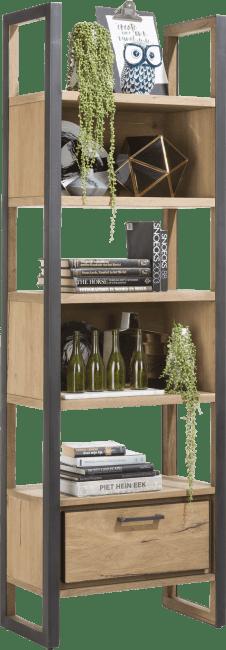 Henders and Hazel - Metalo - Industrieel - boekenkast 65 cm - 1-lade + 5-niches