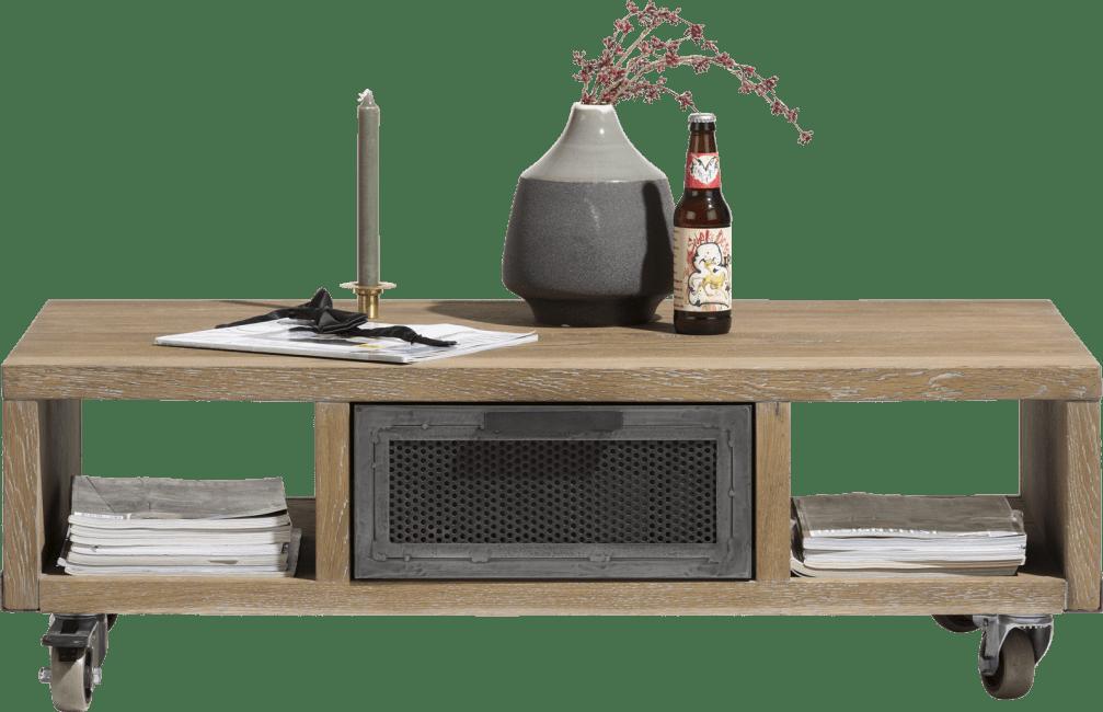 H&H - Vitoria - Industriel - table basse 110 x 60 cm + 1-tiroir t&t + 2-niches