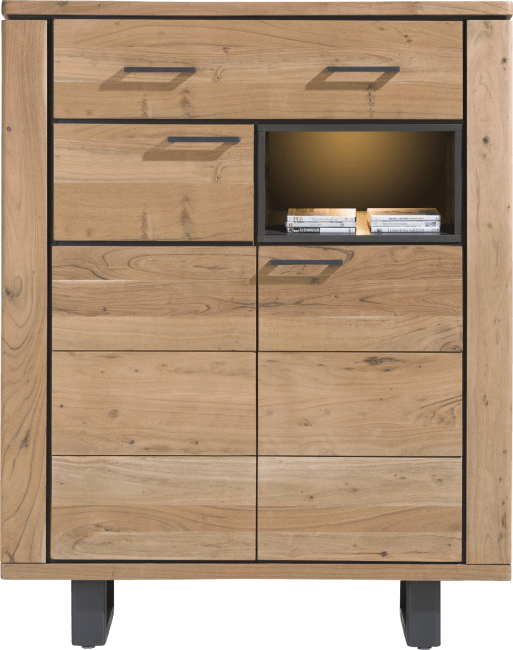 Henders and Hazel - Quebec - Natuerlich - highboard 110 cm - 2-tueren + 1-lade + 1-nische (+ led)