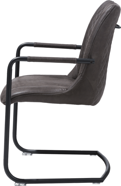 Henders and Hazel - Armin - Industrieel - armstoel + greep rond - off black frame - stof secillia