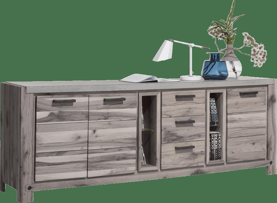 Henders & Hazel - Maitre - Industrie - sideboard 240 cm - 3-tueren + 3-laden + 4-nischen (+ led-spot)