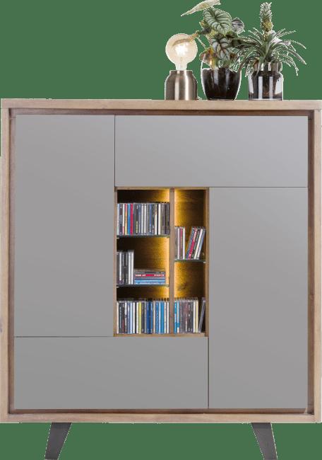 Henders & Hazel - Box - Modern - schrank 125 cm - 2-tueren + 1-lade + 1-klappe + 5-nischen (+ led)