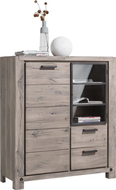 Henders & Hazel - Maitre - Industrie - highboard 125 cm - 1-tuer + 1-glastuer + 2-laden (+ 2x led-strip)