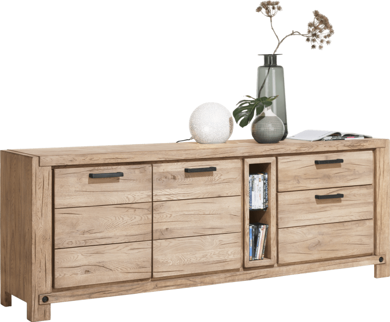 Henders and Hazel - Maitre - Industrieel - dressoir 220 cm - 2-deuren + 2-laden + 2-niches (+ led-spot)