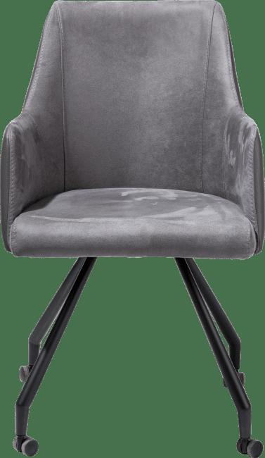 XOOON - Giuliette - Design minimaliste - fauteuil 4-pieds + roulettes - noir - combinaison kibo/tatra