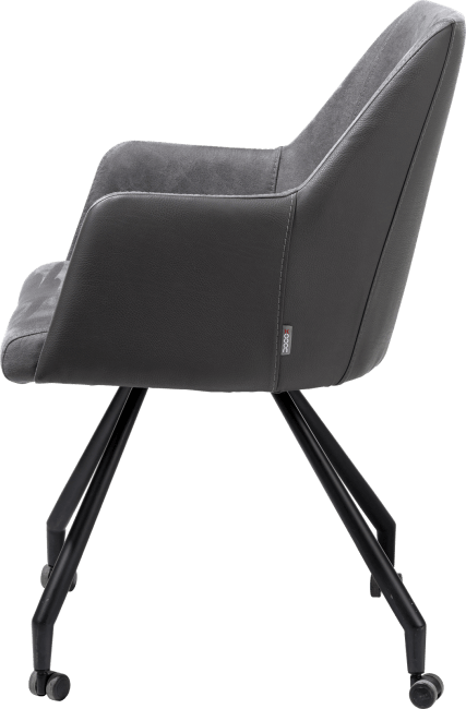 XOOON - Giuliette - Design minimaliste - fauteuil 4 pieds + roulettes - noir - combinaison tissu pala/kibo