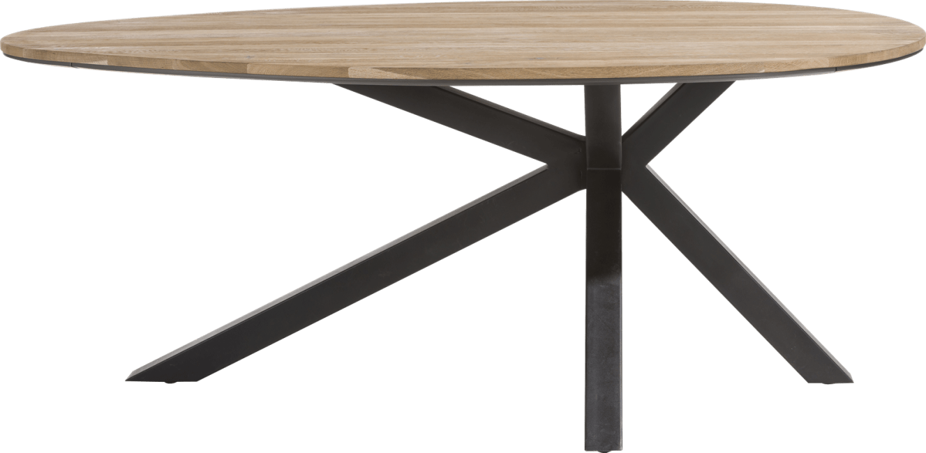 XOOON - Colombo - Industriel - table ovale 200 x 120 cm - chene massif + mdf
