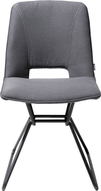 XOOON - Matiz - Minimalistisch design - eetkamerstoel + gat in rug - zwart frame - stof lana