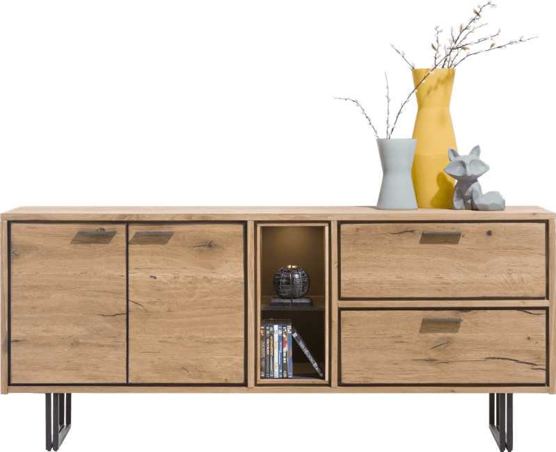 XOOON - Denmark - Industrial - sideboard 180 cm - 2-doors + 2-drawers + 2-niches (+led)