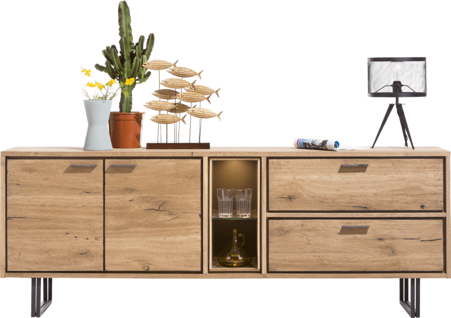 XOOON - Denmark - Industrieel - dressoir 210 cm - 2-deuren + 2-laden + 2-niches (+led)