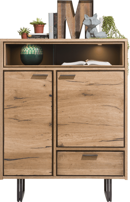 XOOON - Denmark - Industrieel - highboard 110 cm - 2-deuren + 1-lade + 2-niches (+led)