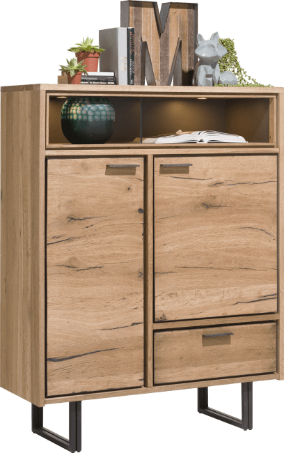 XOOON - Denmark - Industrie - highboard 110 cm - 2-tueren + 1-lade + 2-nischen (+led)