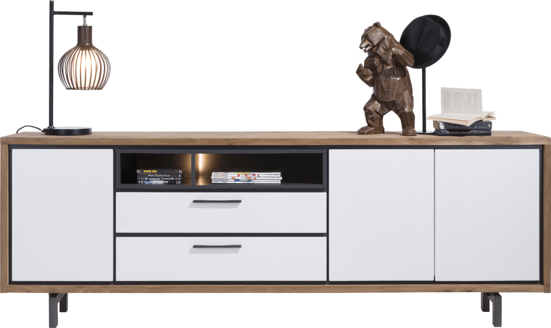 XOOON - Otta - Skandinavisches Design - sideboard 240 cm - 3-tueren + 2-laden + 2-nischen (+ led)