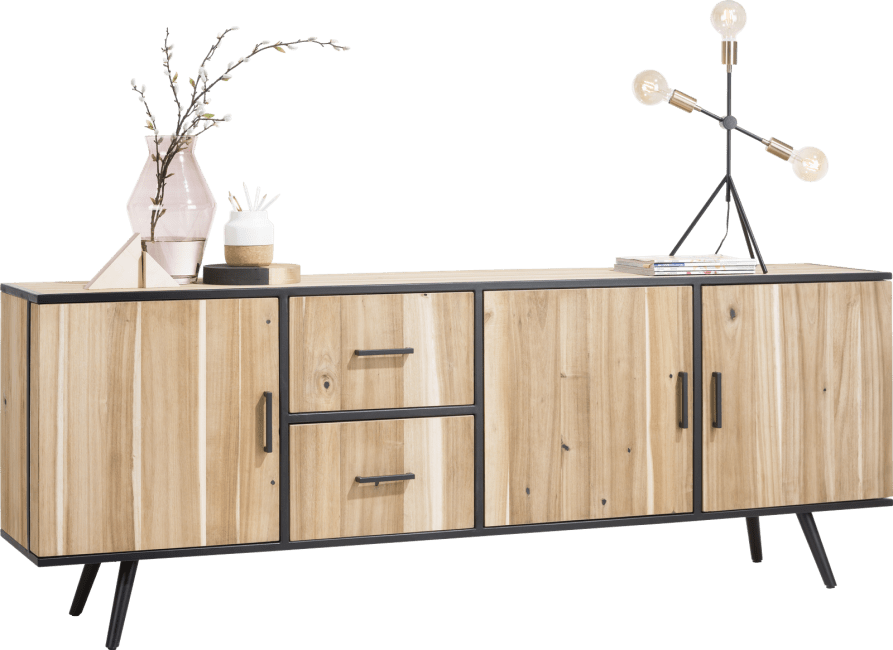 XOOON - Kinna - Skandinavisches Design - sideboard 220 cm - 3-tueren + 2-laden