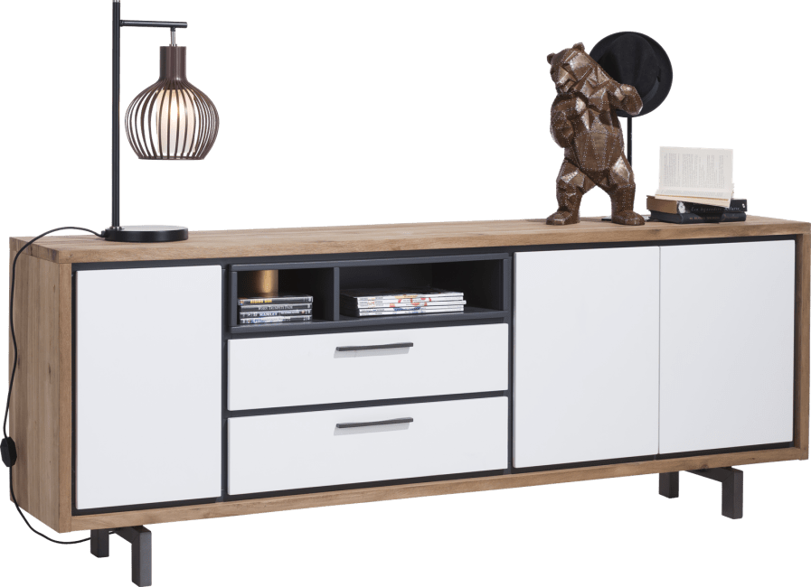 XOOON - Otta - Skandinavisches Design - sideboard 210 cm - 3-tueren + 2-laden + 2-nischen (+ led)