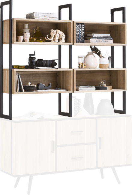 XOOON - Kinna - Scandinavisch design - rek op dressoir 150 cm + 8-niches