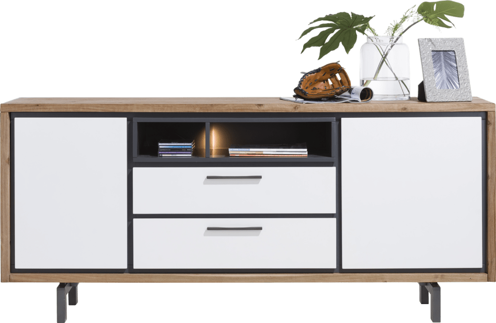 XOOON - Otta - Scandinavisch design - dressoir 180 cm - 2-deuren + 2-laden + 2-niches (+ led)