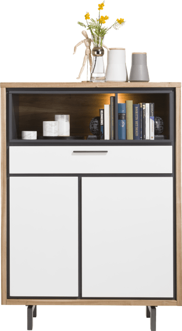 XOOON - Otta - Skandinavisches Design - highboard 105 cm - 2-tueren + 1-lade + 2-nischen (+ led)