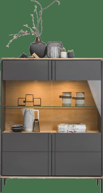 XOOON - Lanai - Industrieel - vitrinekast smal 110 cm - 2-glasdeuren (+ led)
