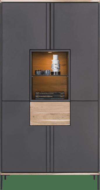 XOOON - Lanai - Industrieel - bergkast hoog 100 cm - 4-deuren + 1-lade + 2-niches (+ led)