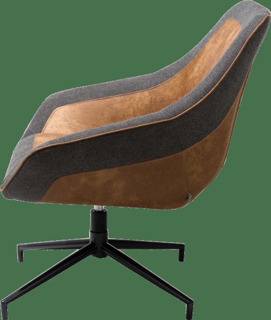 XOOON - Jim - Industrieel - bijzetfauteuil - zwart draai-frame - secilia / blues antraciet